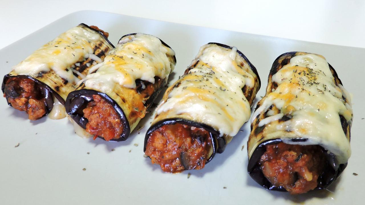 Rollitos de berenjena rellenos de carne y queso