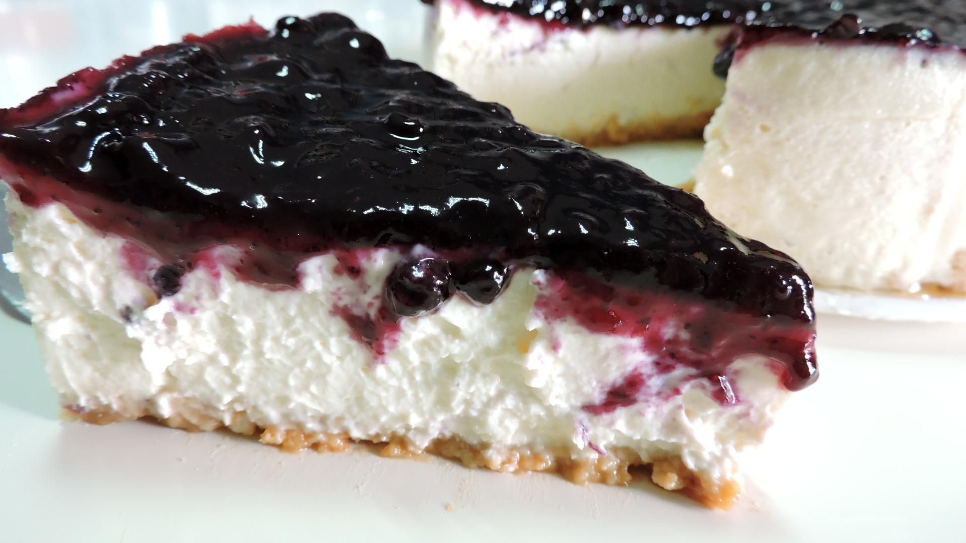 Tarta de Queso Americana con Arándanos (American Cheesecake)