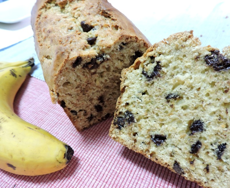 PAN DE PLÁTANO con chips de CHOCOLATE (banana bread)