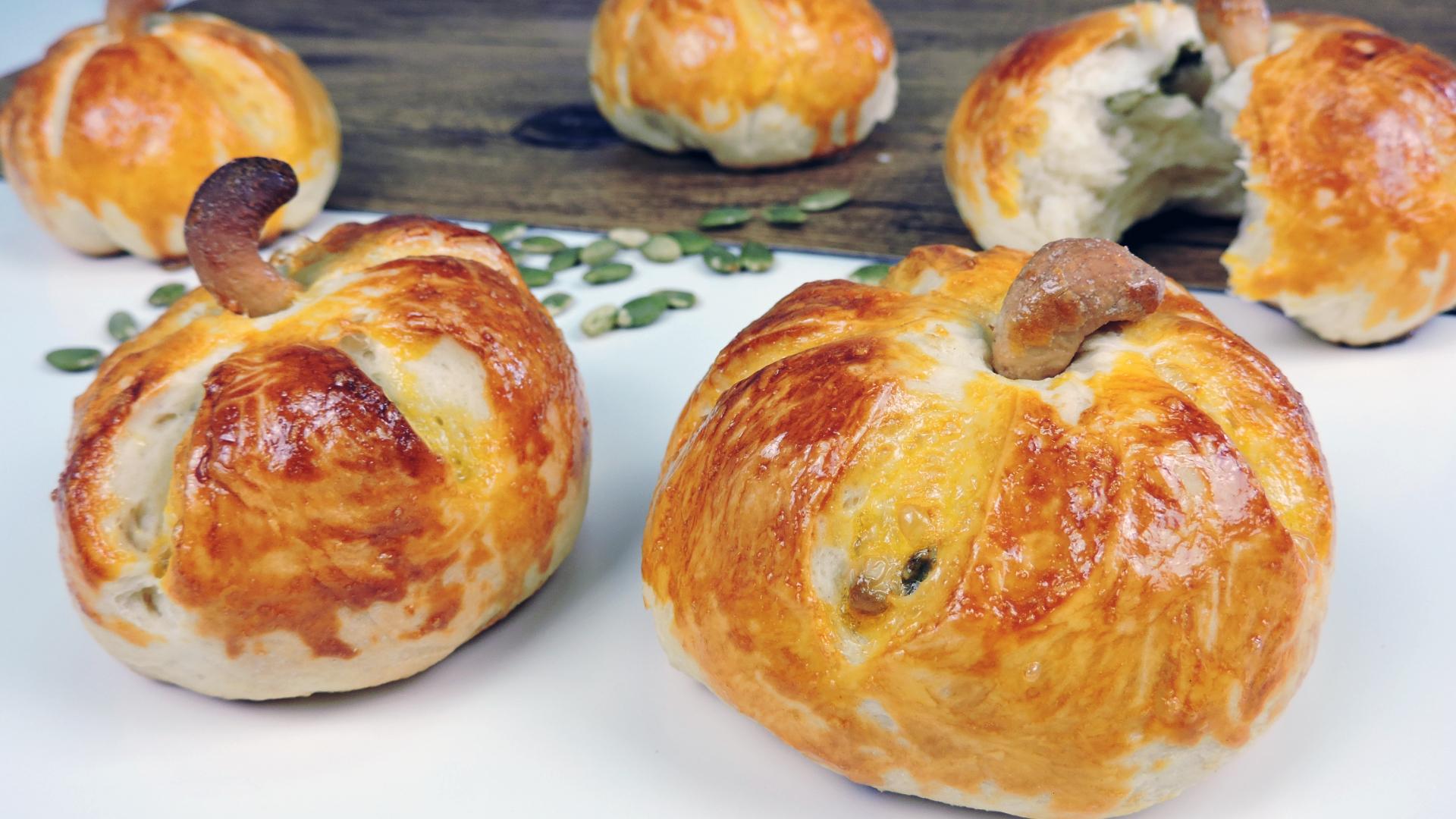 CALABAZAS de PAN con SEMILLAS (receta para Halloween)