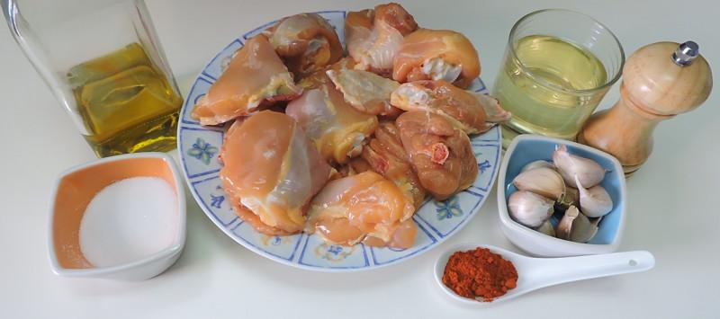 Ingredientes para el pollo al ajillo