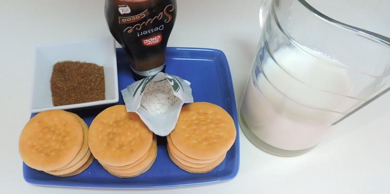 Ingredientes para el pudin (o budín) de galletas