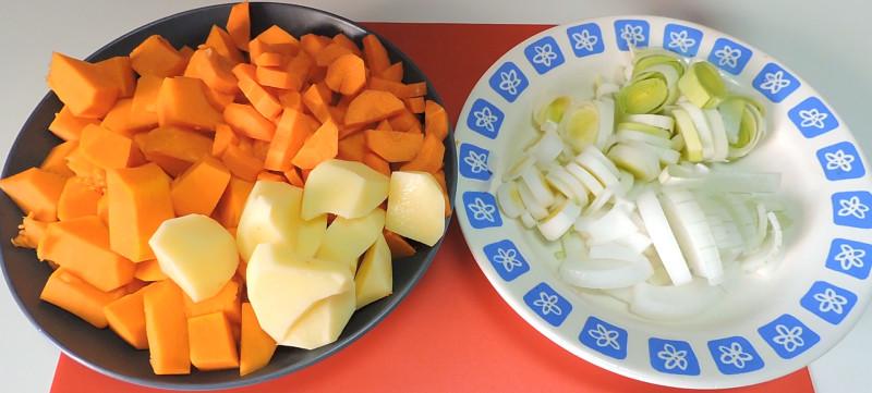 Verduras peladas y troceadas