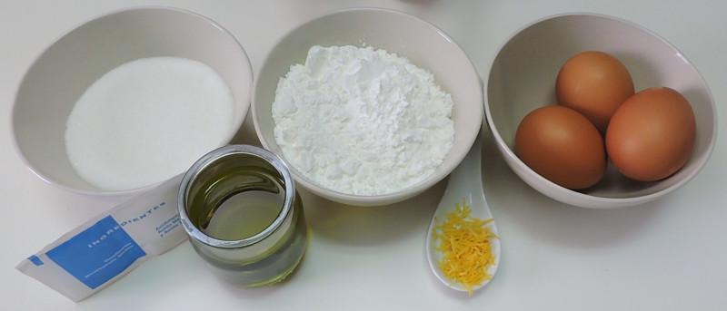 Ingredientes para el bizcocho de Maizena