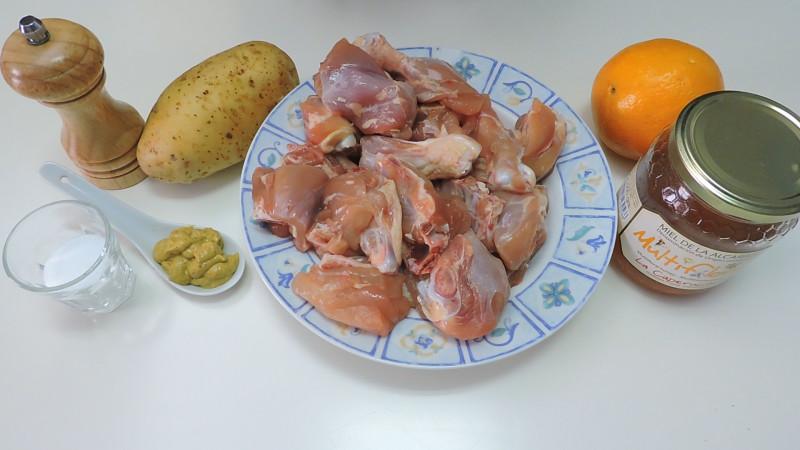 Ingredientes para el pollo a la miel, mostaza y naranja