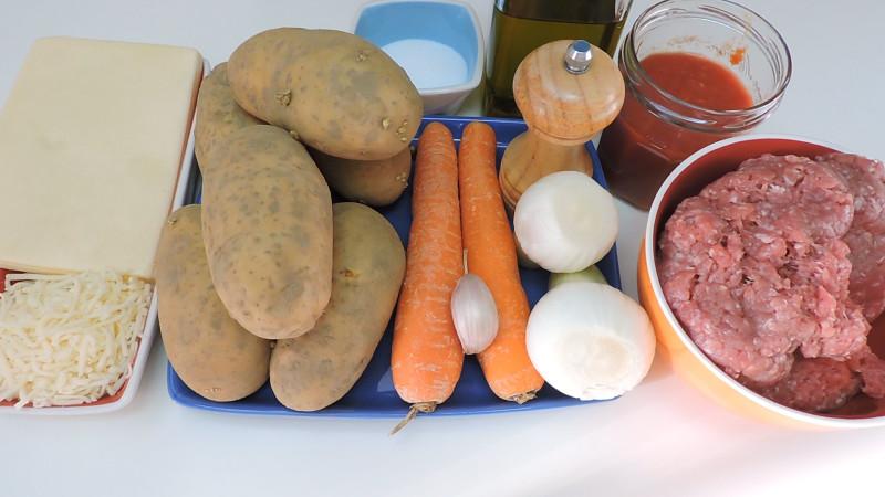 Ingredientes para el pastel de carne y patata