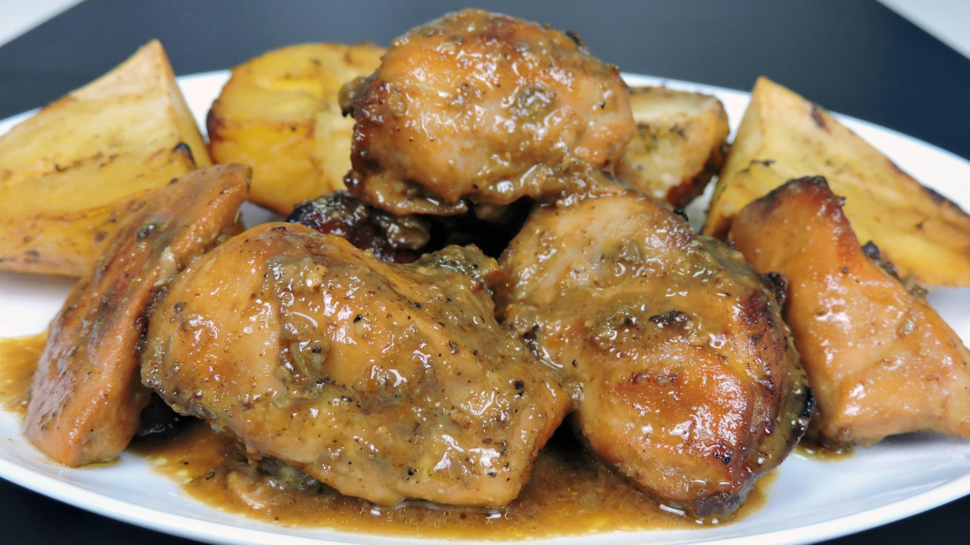 Pollo asado con miel, mostaza y naranja