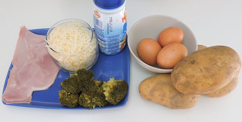 Ingredientes para la quiche de jamón y queso con base de patata