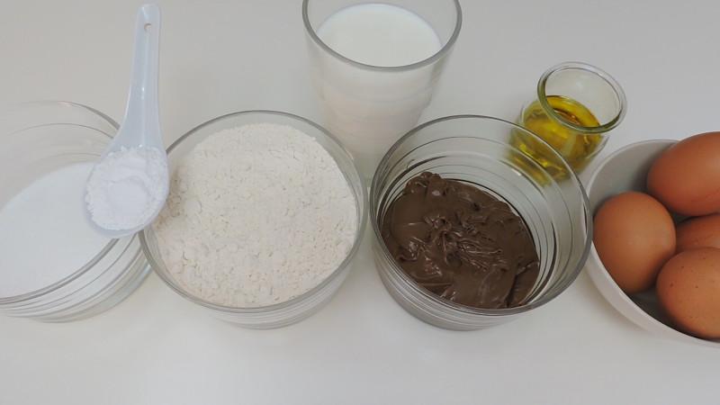 Ingredientes para el bizcocho de Nutella