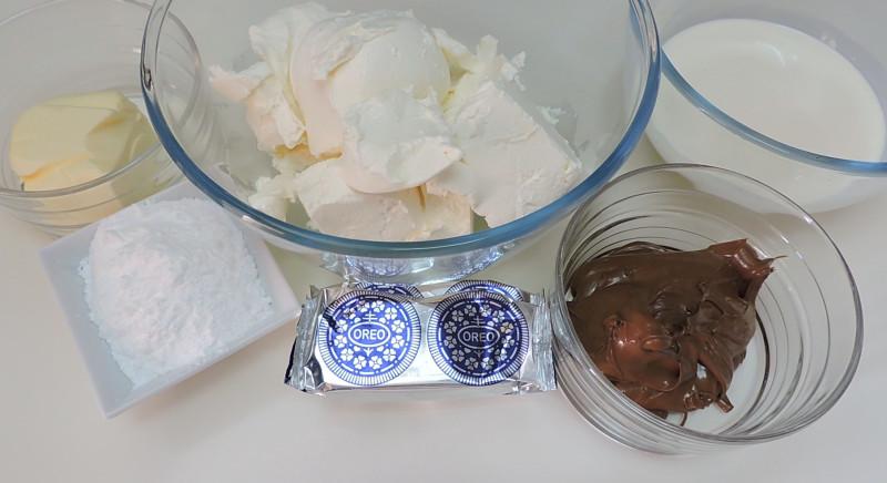Ingredientes para la tarta de queso con Nutella y Oreo