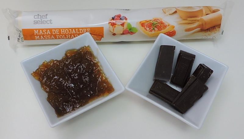 Ingredientes para las caracolas de hojaldre