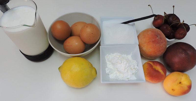Ingredientes para el postre de frutas y crema pastelera