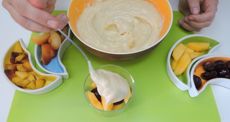 Montando nuestro postre de frutas con crema pastelera