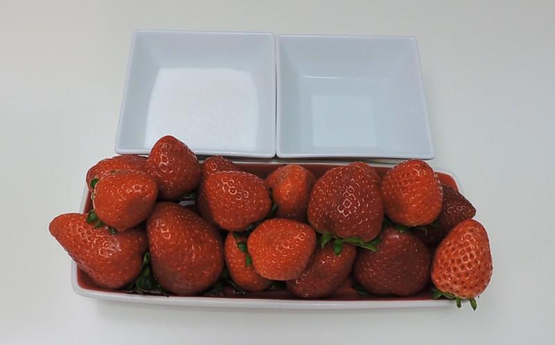 Ingredientes para la salsa de fresas