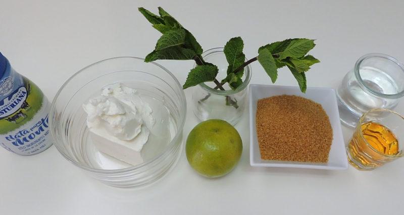Ingredientes para la mousse de mojito y el almíbar