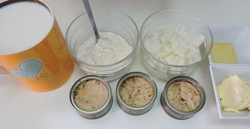 Ingredientes para las croquetas de atún