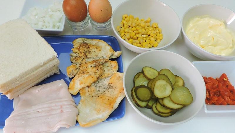 Ingredientes para el pastel de pollo o sandwichón de pollo