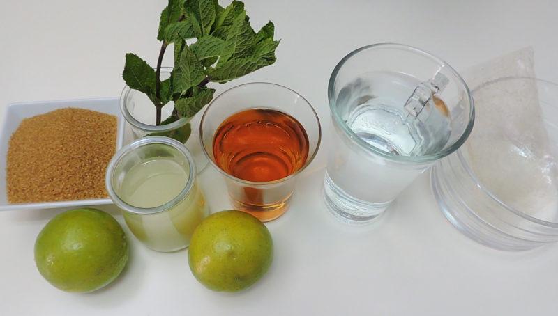 Ingredientes para la gelatina de mojito