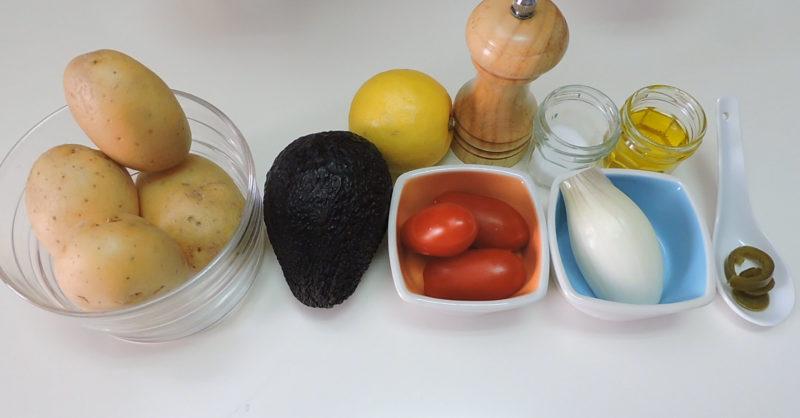 Ingredientes para las patatas rellenas de guacamole
