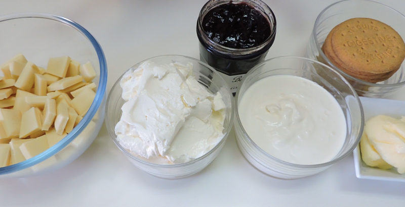 Ingredientes para la tarta de queso con chocolate blanco