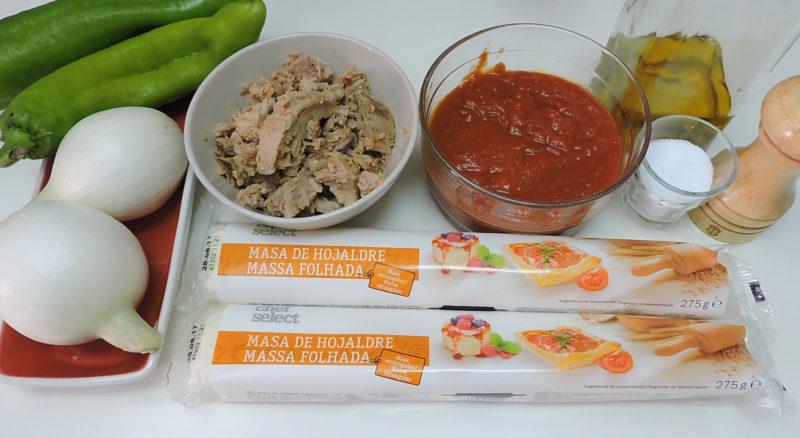 Ingredientes para la empanada de hojaldre con atún