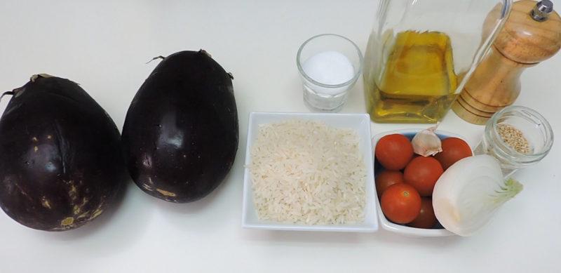 Ingredientes para las berenjenas rellenas de arroz