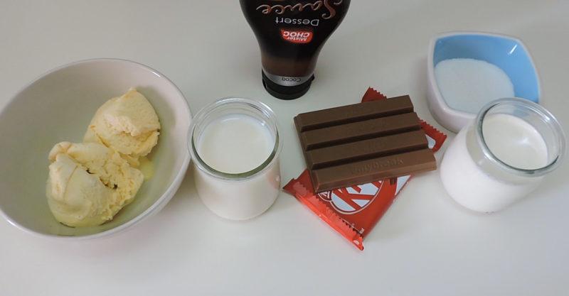 Ingredientes para el batido de KitKat