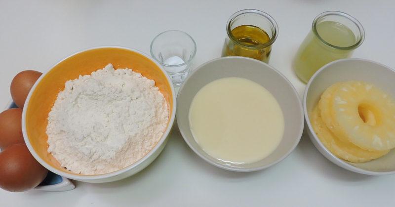 Ingredientes para la tarta de piña con leche condensada