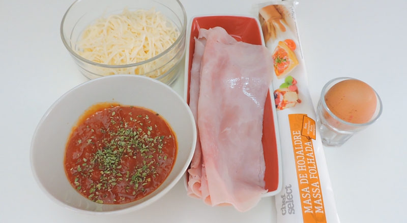 Ingredientes para el hojaldre relleno de jamón y queso