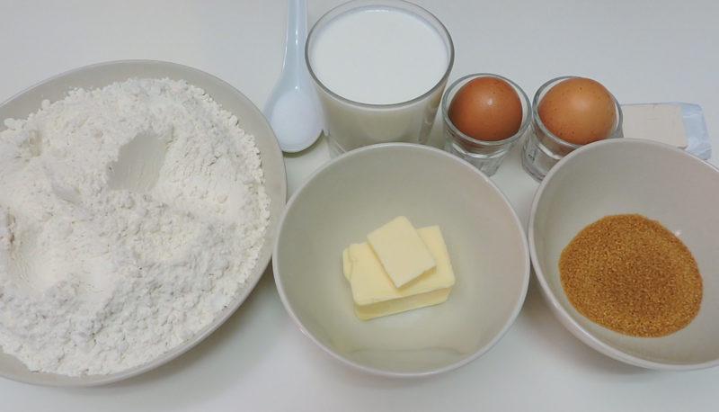 Ingredientes para la masa de los rollos de canela