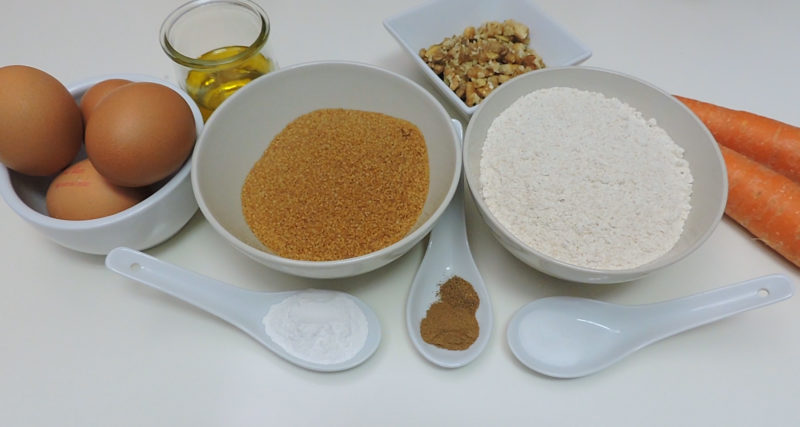 Ingredientes para el bizcocho de zanahoria