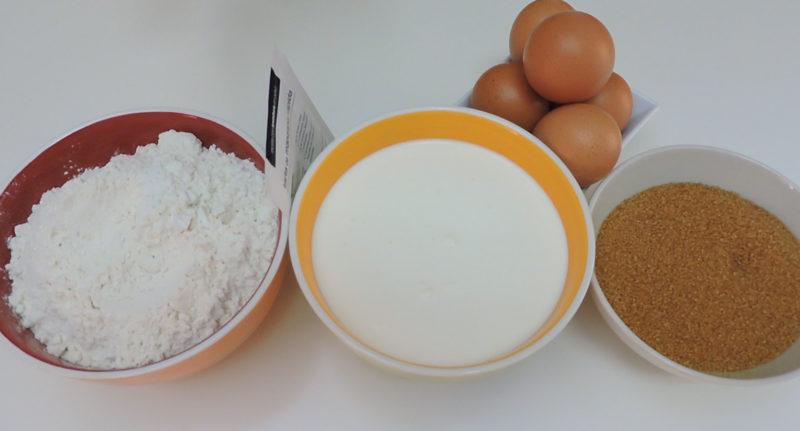 Ingredientes para el bizcocho de nata