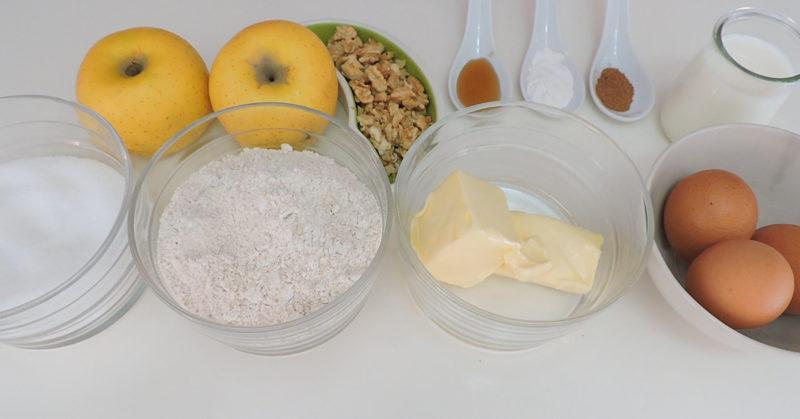 Ingredientes para el bizcocho de manzana y nueces