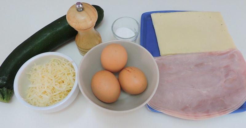Ingredientes para el rollo de calabacín