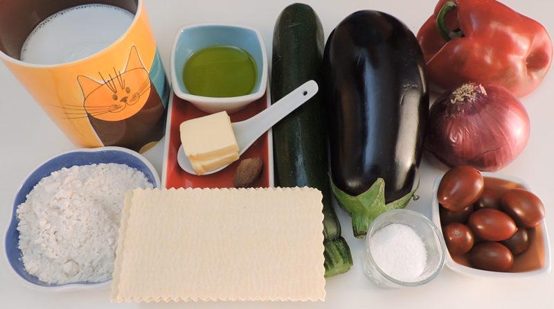 Ingredientes para la lasaña de verduras
