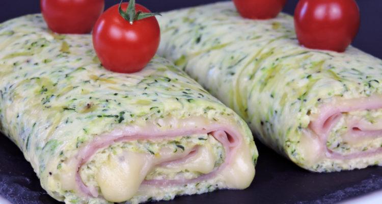 Rollo de calabacín relleno de jamón y queso