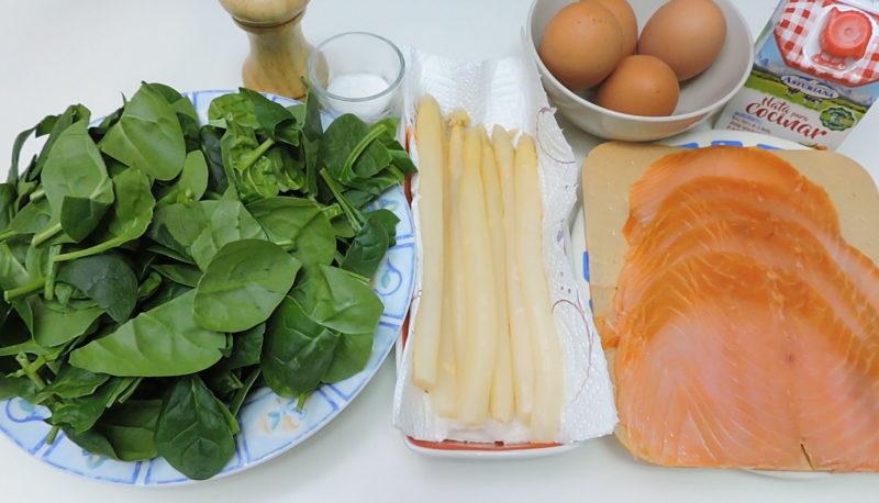 Ingredientes para el pastel de espinacas y salmón