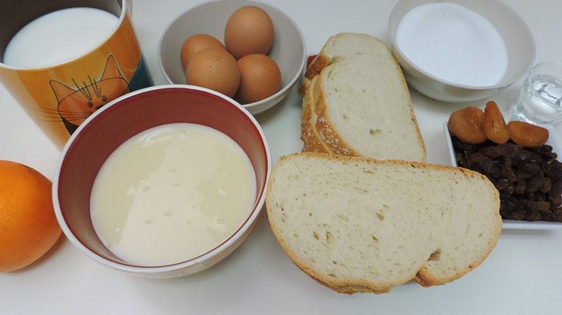 Ingredientes para el pudin de pan con leche condensada