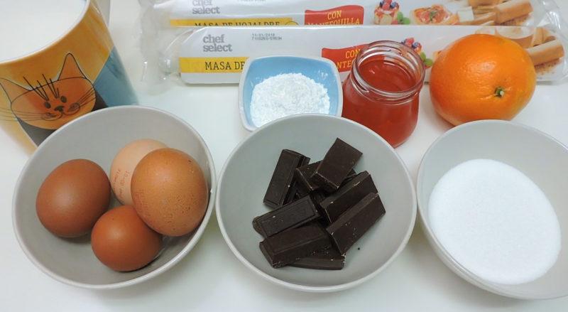 Ingredientes para el roscón de hojaldre con chocolate
