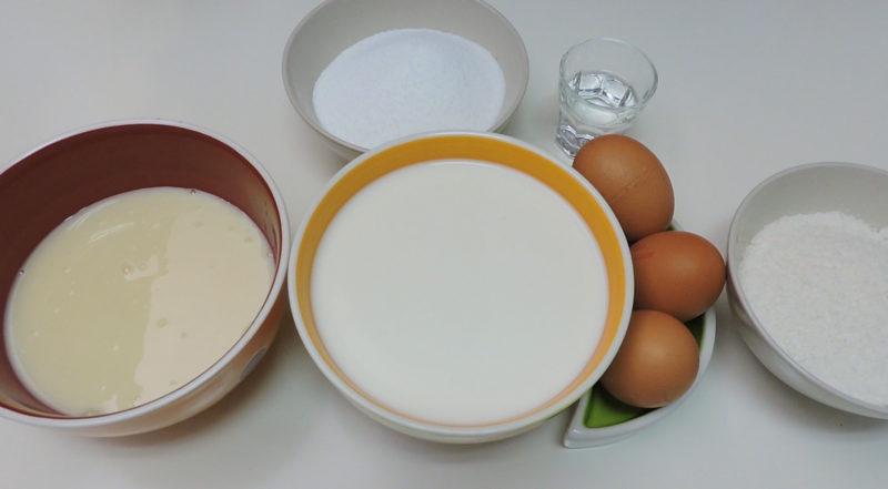 Ingredientes para el flan de leche condensada y coco