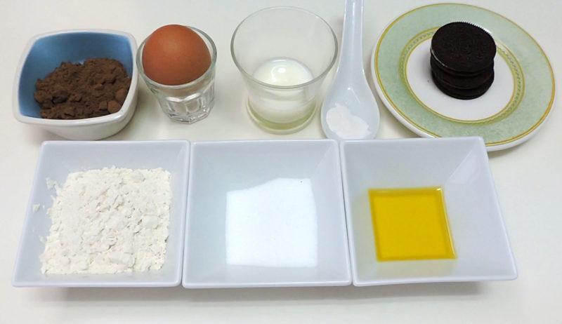 Ingredientes para el Mug cake de Oreo (bizcocho en taza)