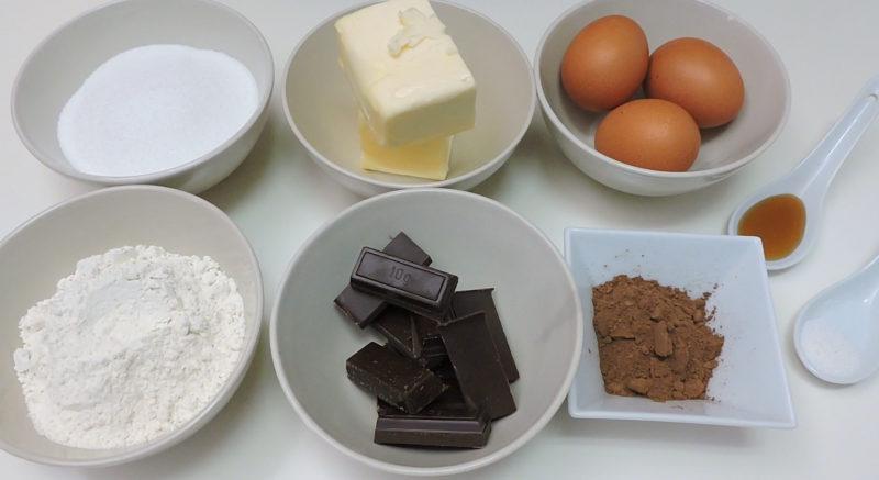 Ingredientes para el bizcocho de chocolate