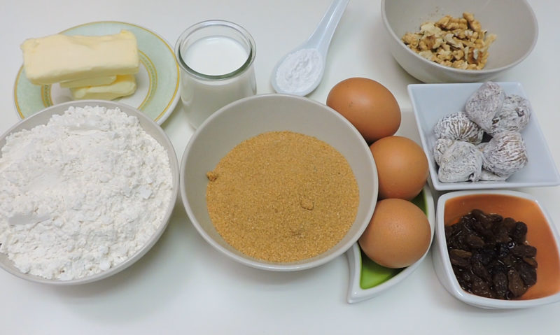Ingredientes para el bizcocho esponjoso de higos y nueces