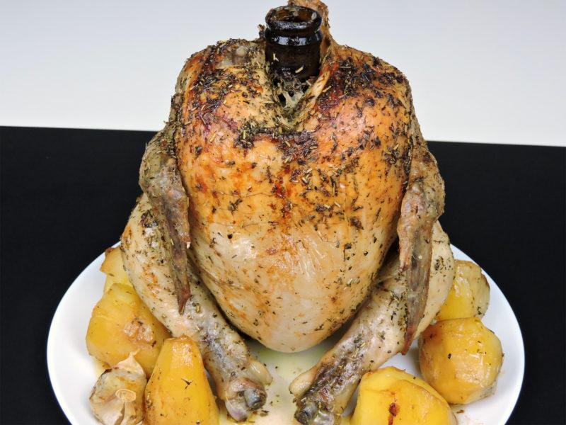 Pollo asado a la cerveza (pollo sentado)