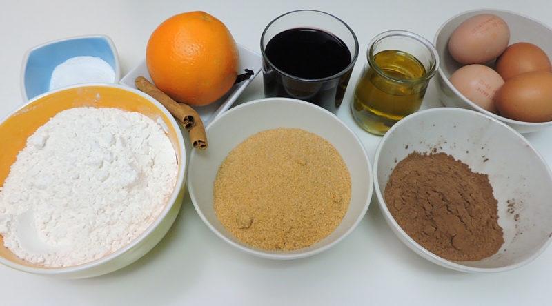 Ingredientes para el bizcocho de chocolate y vino
