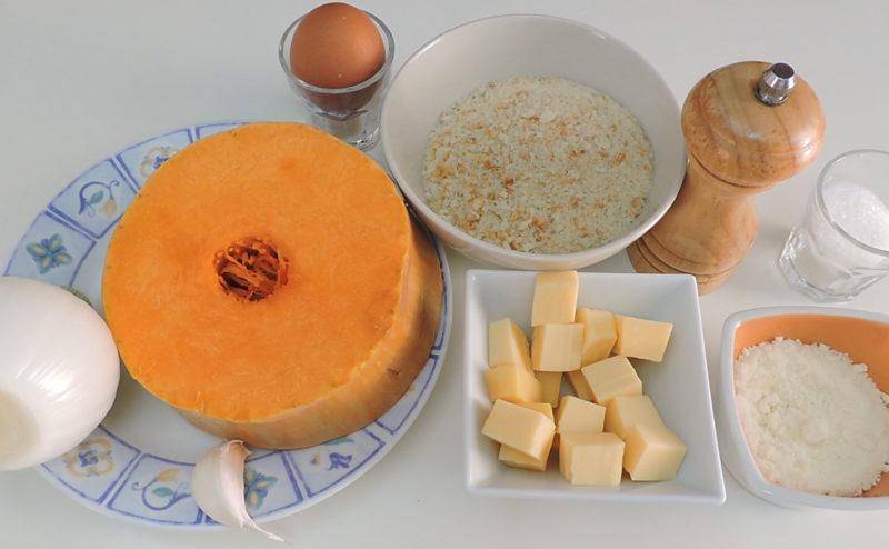 Ingredientes para las croquetas de calabaza y queso