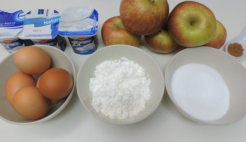 Ingredientes para la tarta flan de manzana