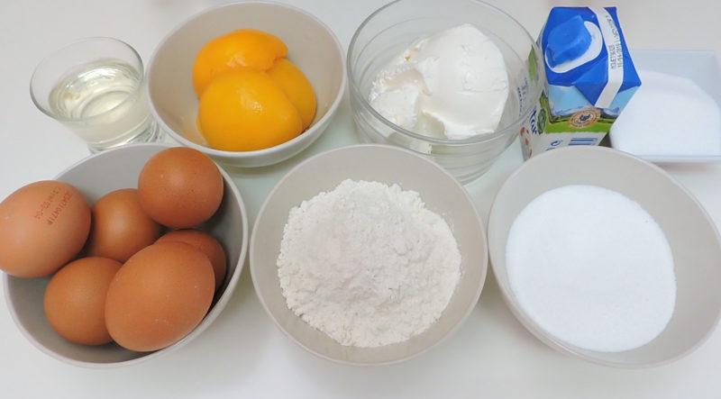 Ingredientes para el pastel de melocotón