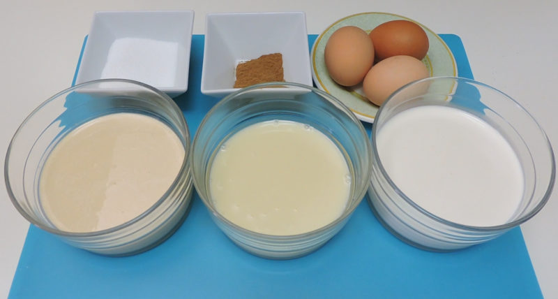 Ingredientes para las torrijas tres leches