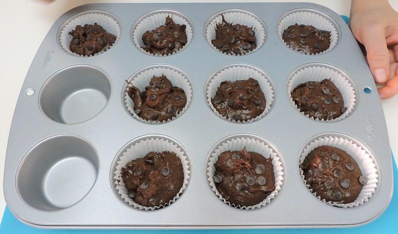Magdalenas de chocolate antes de hornear